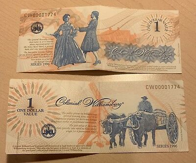~Lot Of 2 $1 Bills From Colonial Williamsburg One Dollar Value Series 1996 Rare~