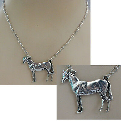 Horse Necklace Silver Pendant Jewelry Handmade Fashion Chain Women Equine