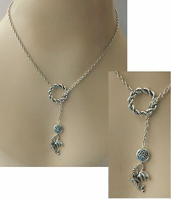Dragon Lariat Necklace Silver Y Shaped Handmade Adjustable NEW Accessories