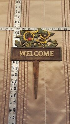 Vintage Cast Iron Welcome Sign Garden