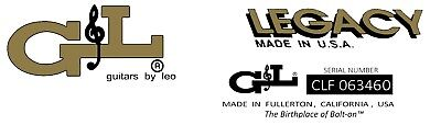 Two G & L legacy Waterslide Headstock Decals