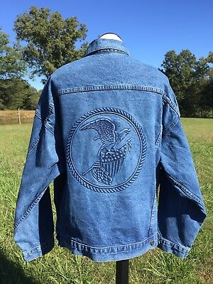 38b2c9622ab TYCA DENIM JACKET AMERICAN Bald Eagle   Flag  Mens  Sz XL Embossed ...
