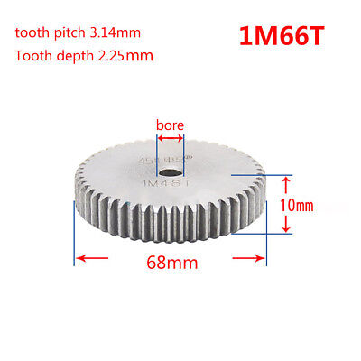 1 Mod 66T Spur Gear Steel Motor Pinion Gear Thickness 10mm Outer Dia 68mm x 1Pcs