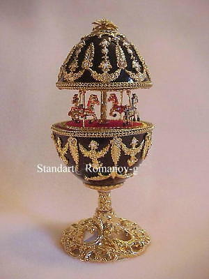 "Nutcracker Musical Egg Plays:""Waltz of the Flowers"" Carousel Egg & gold necklace"