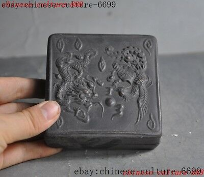 "3""old Chinese bronze carving Dragon phoenix jewelry box case"