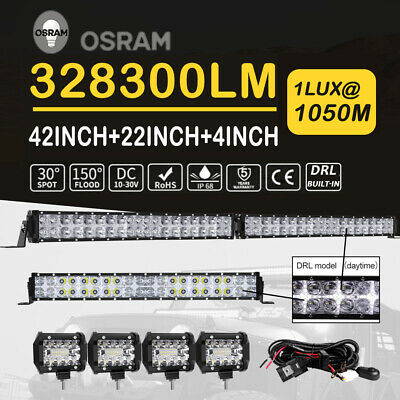 42Inch + 22in LED Light Bar Combo Daytime Running Light +4in Work Pods Truck 4WD