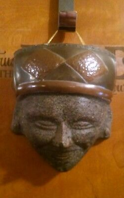 Vintage Speckled Mexican Folk Art Terra Cotta Clay Pottery Mask Wall Hanging