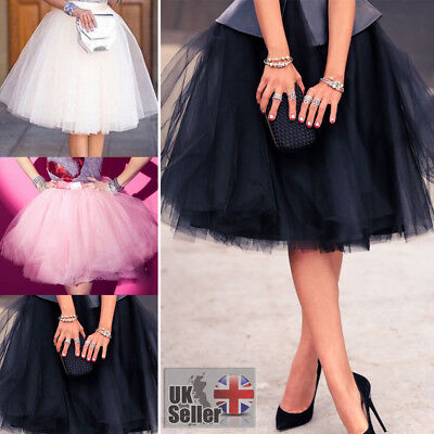 7 Layer Tulle Skirt Vintage 50s Rockabilly Petticoat Ball Gown Skater Dress CA