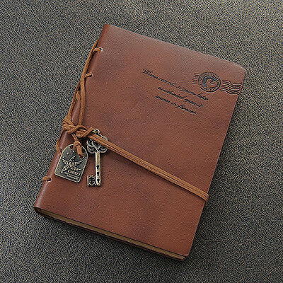 Classic Delicate Vintage Leather Diary Journal Bound Blank Pages Notebook Gift