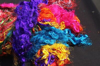 100g Throwster Recycled Sari Silk Multi-color Fiber Waste for Spinning Felting