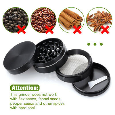 "2"" Tobacco Herb Grinder Spice Herbal Zinc Alloy Smoke Crusher 4 Pieces Metal AU"