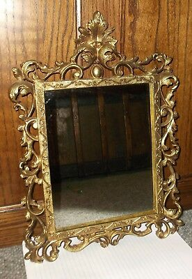 """Cast Iron Wall Frame w/ 1/4 inch thick mirror, Vintage, 16"""" TALL x 11"""", Ornate"""
