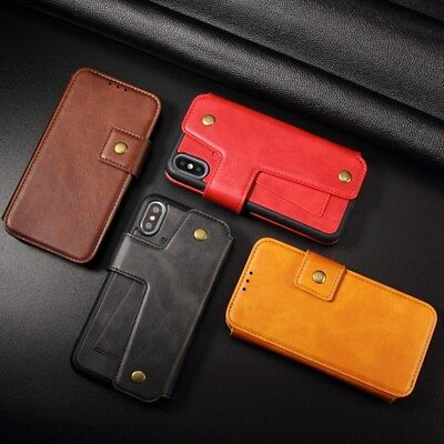 Card Slot Leather Cowhide Split Case Cover For iPhone X XR XS Max 6s 7 8 Plus