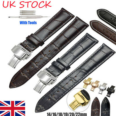 a95d66dd443 UK Replacement Watch Strap Band Luxury Leather Croco Deployment Clasp Wrist  Band