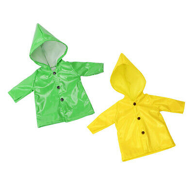 2Pcs Candy Color Raincoat Clothes for 18inch American Girl Doll Outfit Accs