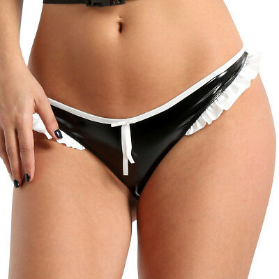 Sexy Women's Faux Leather Lace Panties Briefs Underwear Knickers Thongs G-String