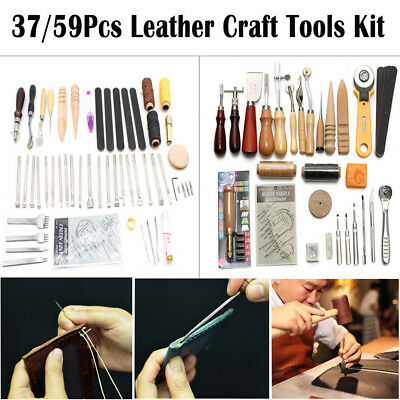 Leather Craft Tools Kit Hand Sewing Stitching Punch Carving Work Saddle nuovo IT