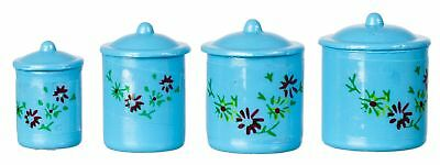 Miniature Dollhouse Fairy Garden Bright Blue 4 Piece Canister Set-Buy 3 Save $5