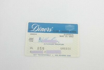 Vintage Rare Diners Club Credit Card Expired May 31 1962 Greece Greek