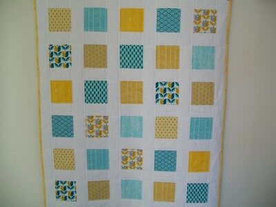 HANDMADE Patchwork Baby Cot Quilt - Prints in Teal, Gold & White