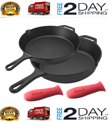 Pre-Seasoned Cast Iron Fry Skillet Oven Safe Cookware 10&12-Inch 2-Piece Set