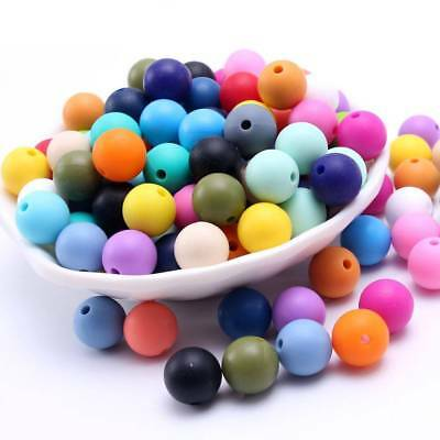 10Pcs SiliconeTeething Beads Round Loose Nusring Jewelry Baby Chew Balls Toys