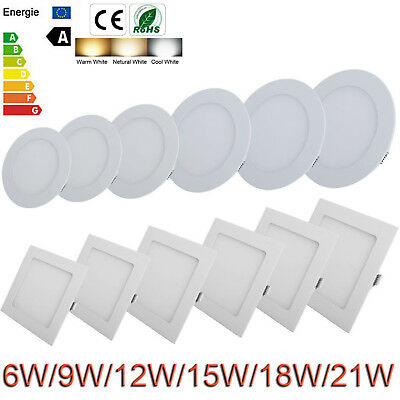 Epistar 9W 12W 15W 18W 21W Dimmable Recessed LED Panel Light Ceiling Down Lights