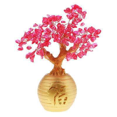 Wealth Lucky Money Tree Feng Shui Crystal Plastic Red Home Decor