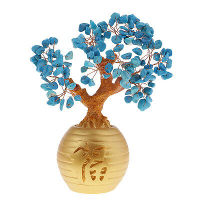 Wealth Lucky Money Tree Feng Shui Crystal Plastic Blue Home Decor