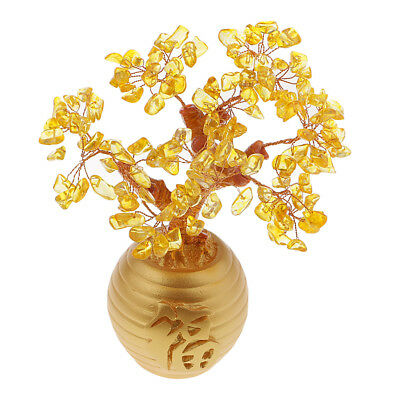 Wealth Lucky Money Tree Feng Shui Crystal Plastic Yellow Home Decor