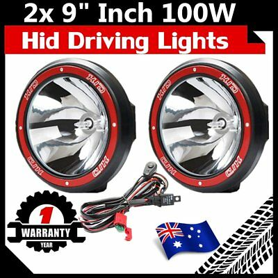 "Pair 9"" inch 100W HID Driving Lights Xenon Spotlight Offroad 4WD Truck UTE 12V @"