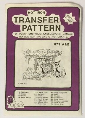 Pretty Punch 879 A&B Hot Iron Transfer Pattern Punch Embroidery Jesus Manger