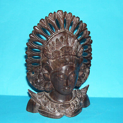 Vintage Asian Wood Carving - Impressive - Intricately Carved Head And Shoulders.