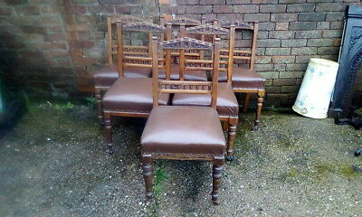 Set Of 6 Beautiful Antique Edwardian Oak Dining Chairs With Original Castors
