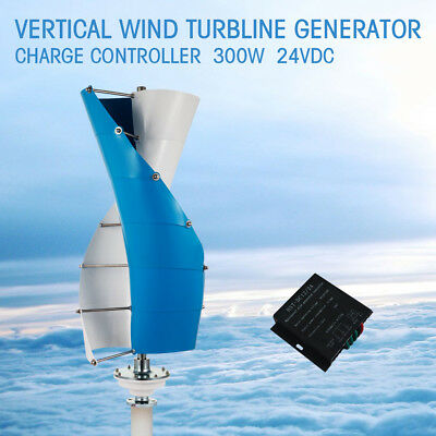 NEW DC 24V 300W Vertical Spiral Wind Power Turbine Generator+Charge Controller