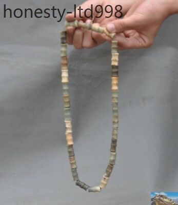 A antique China Hongshan culture Hetian Old jade carving bead talisman necklace