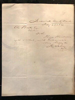 Antique postmarked letter Frederick County Bank, Maryland 1846