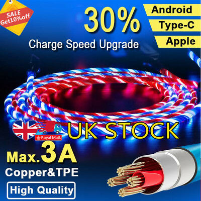 Flowing LED Micro USB C Data Sync Charger Cable Charging Cord i Phone An droid
