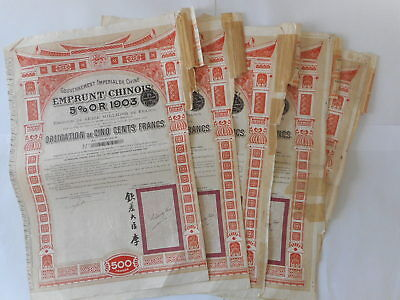 LOT de 5 CHINE CHINA CHINESE 1903 5% OR GOLD 1903 - 1907