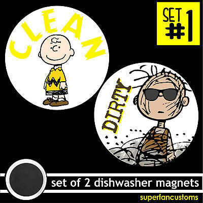 Dishwasher SET OF 2 MAGNETS clean dirty empty full charlie brown pigpen #1904
