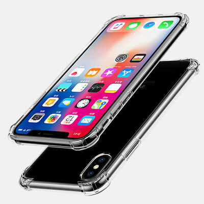 For iPhone X XR XS Max Shockproof Clear Rubber Bumper Hybrid TPU Skin Case Cover