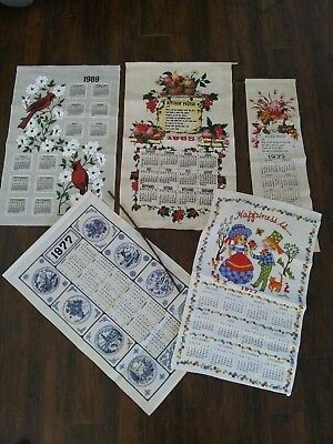 Vintage Lot of Linen Cloth Calendars Wall Hangings 60s, 70s, & 80s