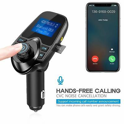 Nulaxy FM Transmitter Bluetooth Hands Free Calling Wireless Radio Car Kit Charge
