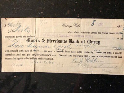 """Vintage Promissory Note to """"Miners & Merchants Bank of Ouray"""", CO 1922"""