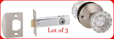 Belwith Products 214590 Passage Door Latch Set Glass Knobs (3-PACK) R13
