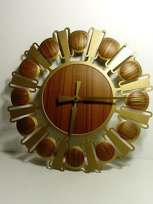 RETRO VINTAGE TEAK BURST SUNBURST wall  CLOCK WORKING ESTYMA  12INCHES approx
