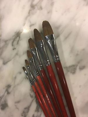 Filbert Style Paint Brush Painting Brushes Set 6 Piece Red Sable Weasel Hair