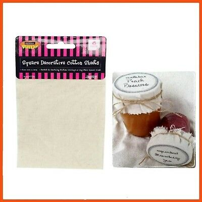 144 x SQUARE COTTON DECORATIVE SHEETS 15 x 10 cm | Rustic Jam Jar Toppers Sewing