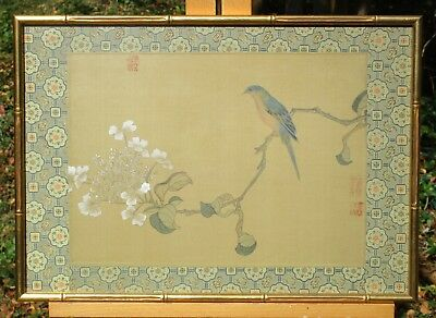 Signed Asian Painting on Silk, Blue Bird and Flowers