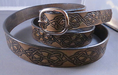 """1"""" Antiqued Leather Belt Fits Waists 42"""" to 46"""", Embossed Celtic Knots, Handmade"""
